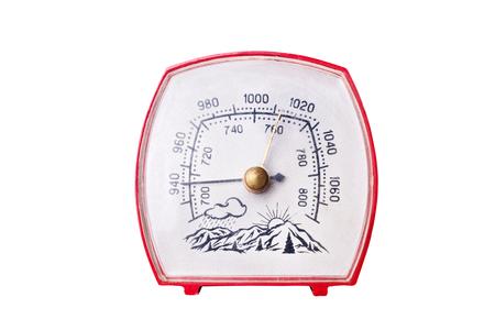 pluviometro: Barómetro. Aislado en el fondo blanco.