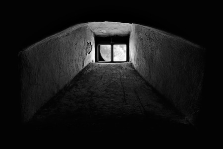 basement: Full moon seen through the window from dark basement or prison