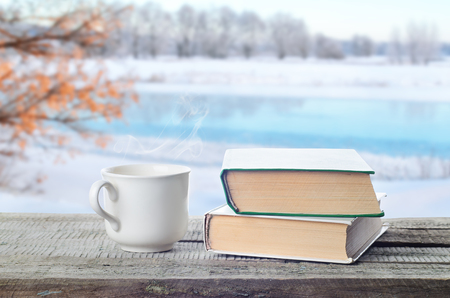 Hot coffee or tea, cocoa, chocolate cup on book outdoors in winter. Pile of books, glasses and cup in nature. Stock Photo