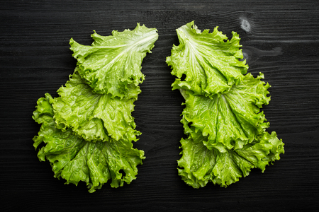 Fresh lettuce leaves on black wooden background. Top view, vegetable concept Фото со стока