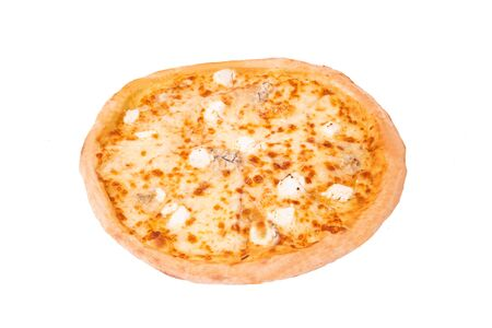 Pizza five cheeses, isolated on white, top view