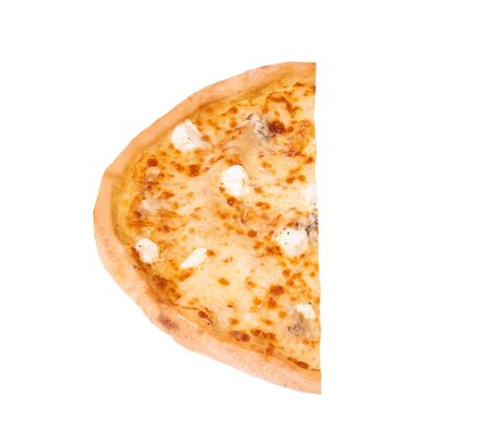 Half of pizza five cheeses, isolated on white, top view