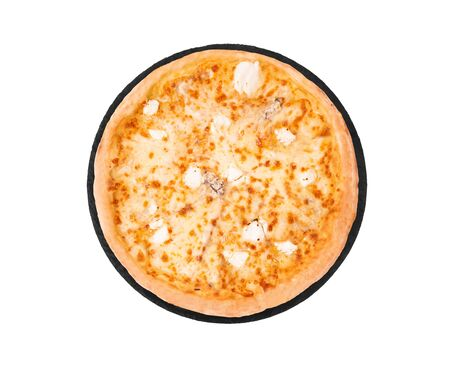 Pizza five cheeses on slate bottom, isolated on white, top view