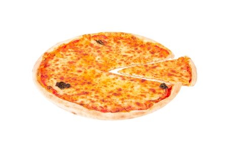 Tasty pizza with mozzarella, bocconcini and basil leaves or pizza margherita, with a slice slightly removed isolated on white background, angle view