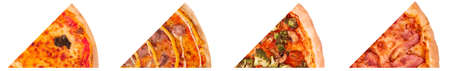Set of four different slices of tasty italian pizza: Margherita, Salsiccia with sausages, with fresh vegetables and with bacon, isolated on white background Stock Photo
