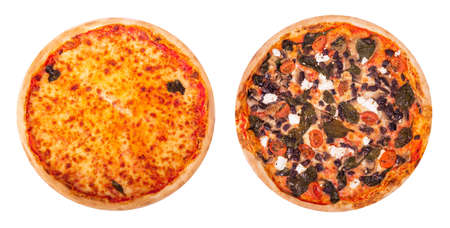 Set of two delicious pizza isolated on white background, top view. Pizza Margherita and pizza with mozzarella, feta, cherry tomatoes, spinach, mushrooms and olive