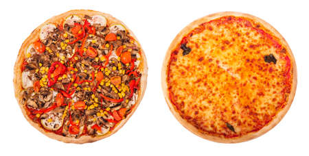Set of two delicious pizza isolated on white background, top view. Pizza with mushrooms, corn, cherry tomatos, courgettes and bell peppers and pizza Margherita