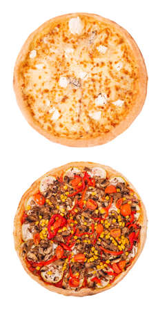 Set of two delicious pizza isolated on white background, top view. Pizza quattro formaggi and pizza with mushrooms, corn, cherry tomatos, courgettes and peppers