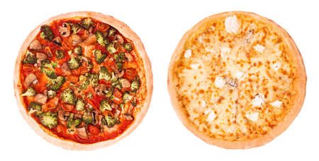 Set of two delicious pizza isolated on white background, top view. Vegetarian pizza with various vegetables and pizza quattro formaggi