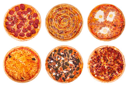 Set of different variaty of pizzas isolated on white background, italian cuisine, top view