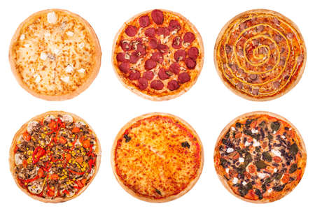Set of the best Italian pizzas isolated on white background. Pizza quattro formaggi, pizza with salami, pizza Salsiccia,Veggie pizza, Margherita and pizza with feta, spinach and olive Stock Photo