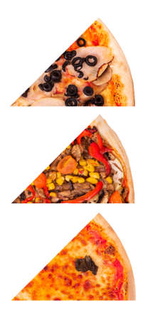 Set of three different slices of tasty italian pizza: with ham, mushrooms and olives, pizza with vegetables and Margherita, isolated on white background