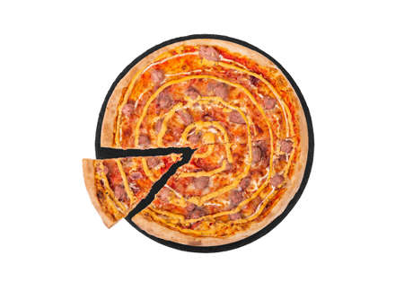 Italian salsiccia pizza with beef sausages, mozzarella, various sauces and marinated red onions, with a slice slightly removed on slate black platter, isolated on white background, top view