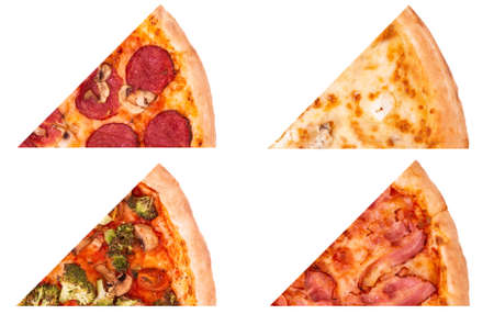 Four kinds of tasty pizza, set or collage of pizza slices isolated on white background. Salami pizza, Quattro formaggi, with vegetables and with bacon