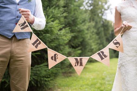 wedding reception decoration: Wedding reception decoration closeup mr and mrs