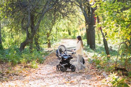 사랑스러운 가을 오후 동안 공원에서 산책 유모차와 중동 여자 스톡 콘텐츠