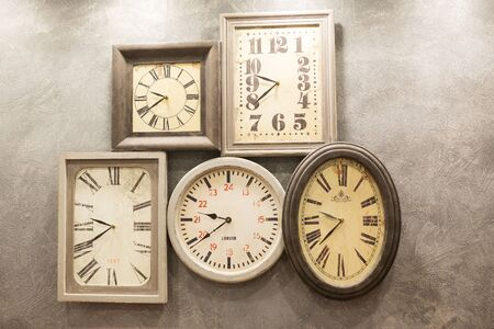time clock: retro room with clocks decorated on the wall