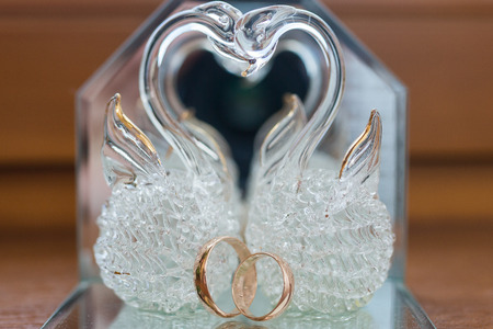 white gold: Close-up of a jewelry box with two elegant white gold rings, symbol of engagement and elegance Stock Photo