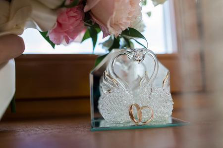 lifelong: Close-up of a jewelry box with two elegant white gold rings, symbol of engagement and elegance Stock Photo