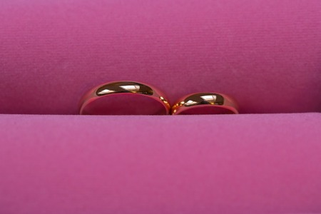 financial planning married: Golden wedding ringson pink background, close up. Marriage of convenience concept Stock Photo