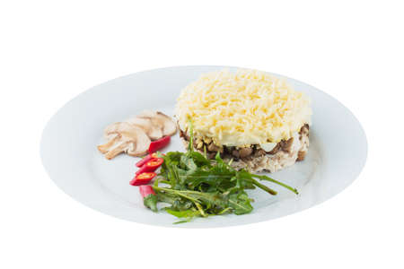 nutritiously: salad with vegetables, mushrooms, meat and mashed potatoes with cheese on white background