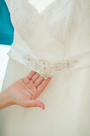 silk bow: A close up of a wedding dress with a large silk bow