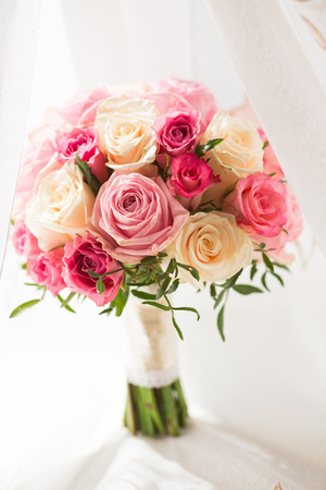 red orchid: Bridal beautiful romantic bouquet of various flowers Stock Photo