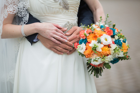 autumn, bridal bouquet, wedding in the autumn 免版税图像
