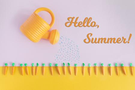 Concetto estivo con letti di carota di colore brillante e annaffiatoio, vista dall'alto e disposizione piatta. Ciao estate testo.