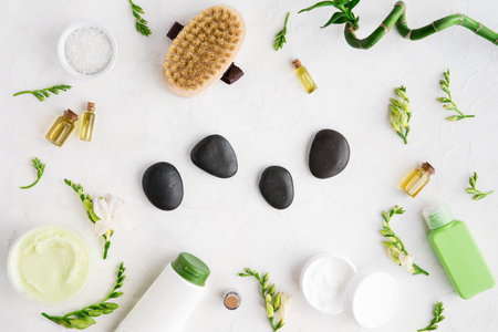 Spa cosmetic products flat lay concept, body and face care background of organic products, flatlay, view from above