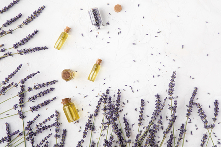 Top view of lavender oil body care products. Aromatherapy, spa and natural healthcare concept, flat lay