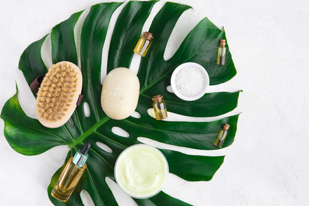 Spa wellness and relax background concept. Spa flat lay with bode care accessories on white background. View from above with copy space.