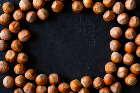 Top view of background texture of fresh natural unshelled raw Hazelnut, full frame and flat lay. Fresh organic filbert. macro Food background.