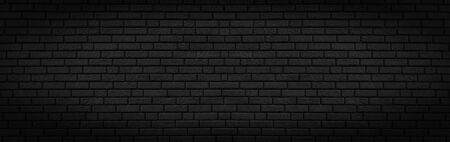 Panoramic texture of black brick wall, brickwork background for design or backdrop
