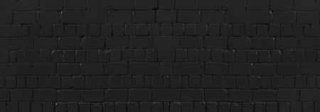 Panoramic texture of black old brick wall, brickwork background for design or backdrop Banque d'images - 129497982