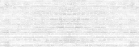 Panoramic background of wide white brick wall texture. Home or office design backdrop