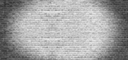 Old vintage white brick wall texture for background, wide panoramic backdrop 写真素材