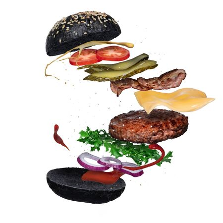 Floating black burger layer isolated on white background. Ingredients of a delicious hamburger with ground beef patty, lettuce, bacon, onions, tomatoes, cucumbers, splash of sauce and mustard Stockfoto - 129497998