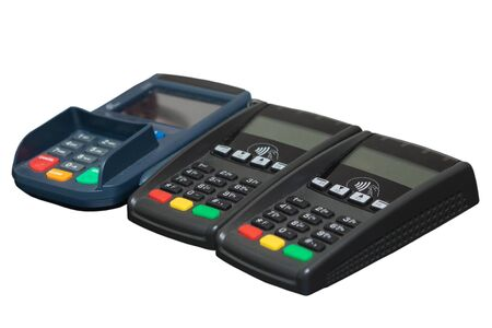Three Payment terminals isolated on white.