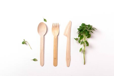 Top view and flat lay of bamboo wooden cutlery isolated on white background. Eco friendly concept 写真素材