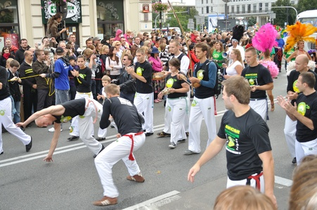 Warsaw, Poland - September 5, 2009 - Capoeira show during Carnival Parade - Bom Dia Brasil.