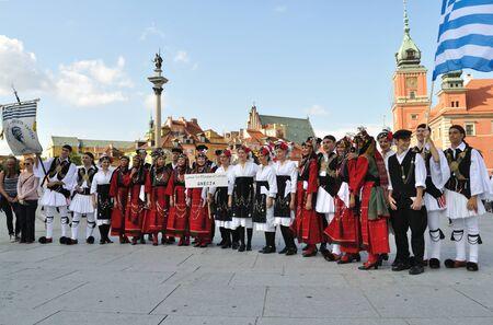 Warsaw, Poland - August 19, 2010 - The Folklore Ensemble LYKION TON ELLINIDON from Greece - street parade during the International Folklore Festival WARSFOLK