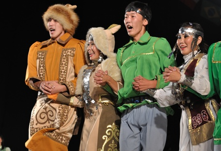 Warsaw, Poland - August 19, 2010 - Folklore Ensemble MICHAAR from Sakha (Yakutia) Republic of Russia - performs folk dances during the International Folklore Festival WARSFOLK.