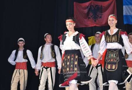 Warsaw, Poland - August 19, 2010 - The National Folklore Ensemble from Albania - performs folk dances during the International Folklore Festival WARSFOLK. Editorial