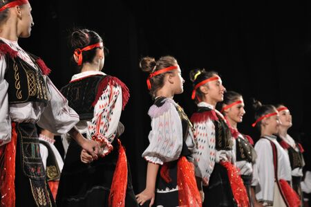 Warsaw, Poland - August 19, 2010 - The National Folklore Ensemble from Albania - performs folk dances during the International Folklore Festival WARSFOLK. Stock Photo - 8844096