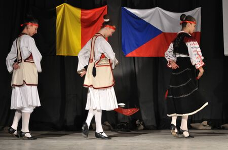 Warsaw, Poland - August 19, 2010 - The National Folklore Ensemble from Albania - performs folk dances during the International Folklore Festival WARSFOLK. Stock Photo - 8844072
