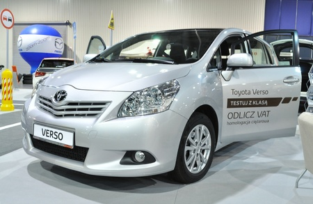 Warsaw, Poland - November 5, 2010 - Toyota Verso on display at the Auto Show Poland