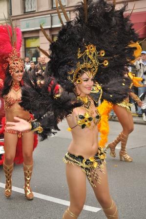 exotic dancer: Warsaw, Poland - September 5, 2009 - Dancers in the Carnival Parade - Bom Dia Brasil.
