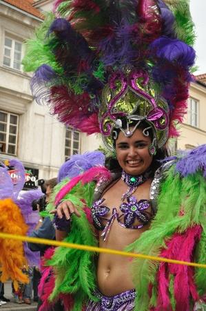 Warsaw, Poland - September 5, 2009 - Samba dancer in the Carnival Parade - Bom Dia Brasil.