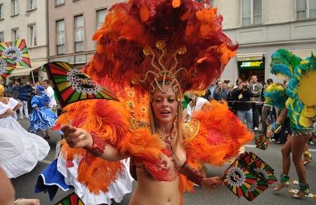 Warsaw, Poland - September 5, 2009 - Samba dancers in the Carnival Parade - Bom Dia Brasil.